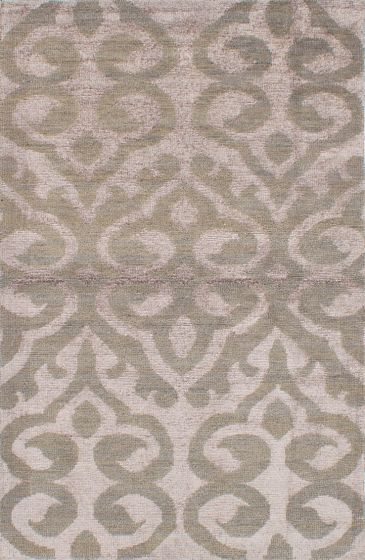 Transitional Ivory Area rug 5x8 Indian Hand-knotted 222049