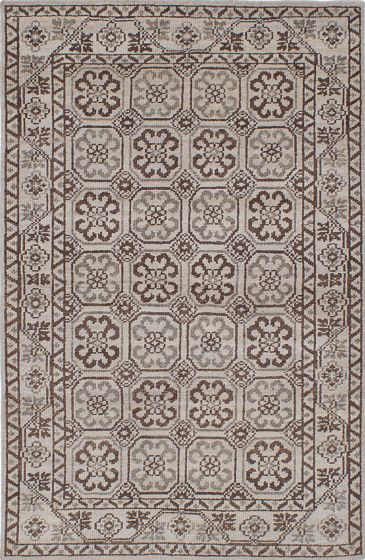 Traditional Grey Area rug 5x8 Indian Hand-knotted 222102