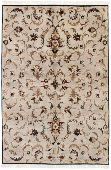 Traditional Grey Area rug 5x8 Indian Hand-knotted 228014