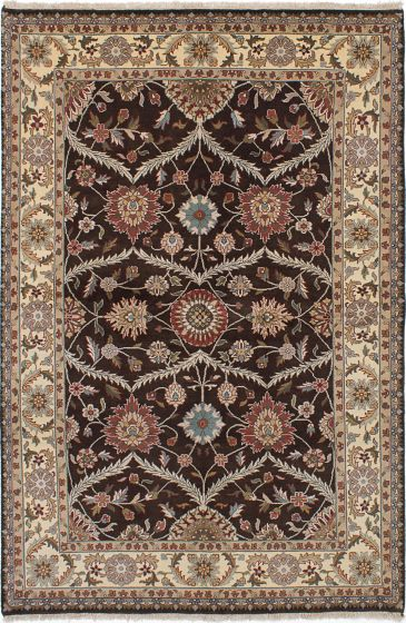 Traditional Brown Area rug 5x8 Indian Hand-knotted 228113