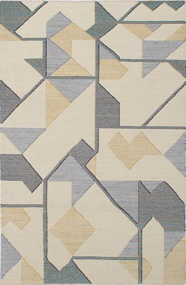 Transitional Ivory Area rug 5x8 Indian Flat-weave 230534