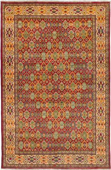 Bordered  Traditional Red Area rug 5x8 Afghan Hand-knotted 272656
