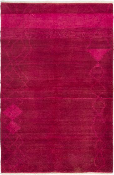 Moroccan  Transitional Red Area rug 5x8 Indian Hand-knotted 280559
