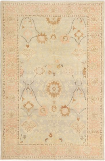 Bordered  Traditional Yellow Area rug 5x8 Turkish Hand-knotted 280755