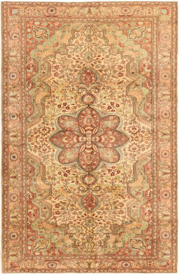 Bordered  Transitional Ivory Area rug 6x9 Turkish Hand-knotted 280931