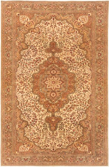 Bordered  Traditional Ivory Area rug 6x9 Turkish Hand-knotted 281008