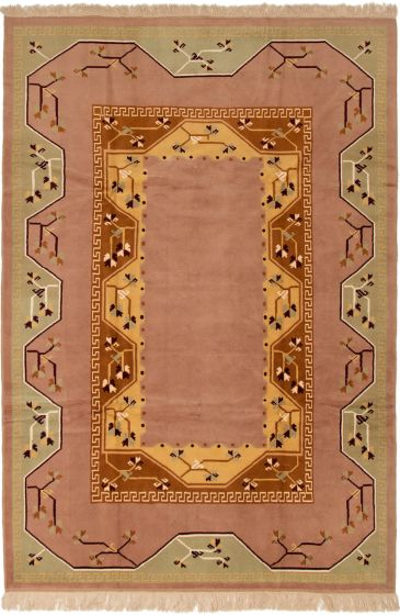 Bordered  Traditional Ivory Area rug 6x9 Turkish Hand-knotted 293249