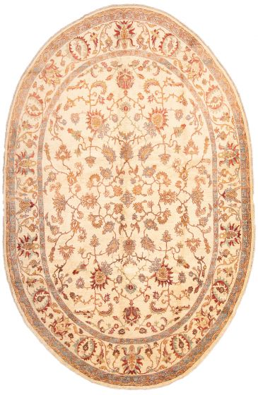 Bordered  Traditional Ivory Area rug Unique Afghan Hand-knotted 295723