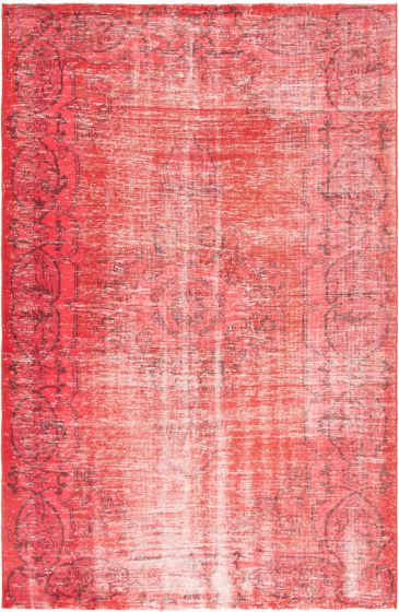 Bordered  Transitional Red Area rug Unique Turkish Hand-knotted 296843