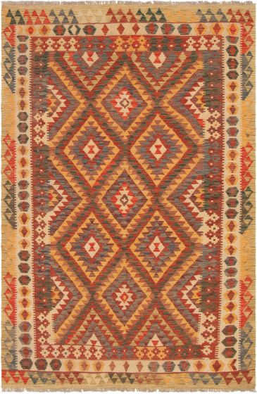 Bordered  Geometric Red Area rug 5x8 Turkish Flat-weave 297682