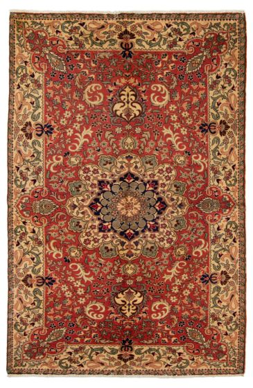 Bordered  Traditional Red Area rug 4x6 Turkish Hand-knotted 317544