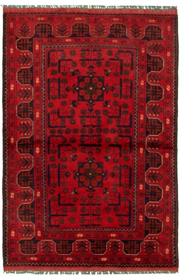 Bordered  Tribal Red Area rug 3x5 Afghan Hand-knotted 330284