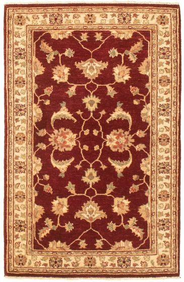 Bordered  Traditional Red Area rug 3x5 Afghan Hand-knotted 330450