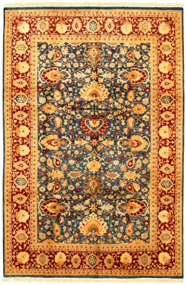 Bordered  Traditional Blue Area rug 5x8 Pakistani Hand-knotted 330571