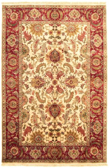Bordered  Traditional Ivory Area rug 5x8 Indian Hand-knotted 335488