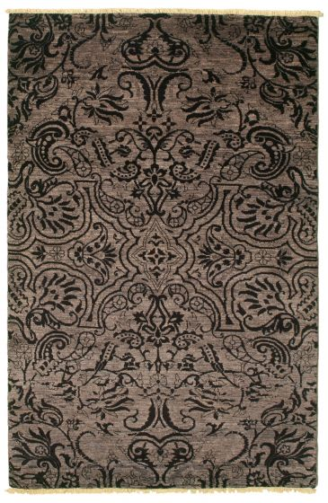 Traditional  Transitional Grey Area rug 3x5 Pakistani Hand-knotted 342177