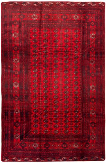 Bordered  Tribal Red Area rug 6x9 Afghan Hand-knotted 342369