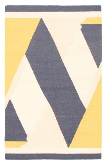 Flat-weaves & Kilims  Transitional Yellow Area rug 5x8 Turkish Flat-weave 344459