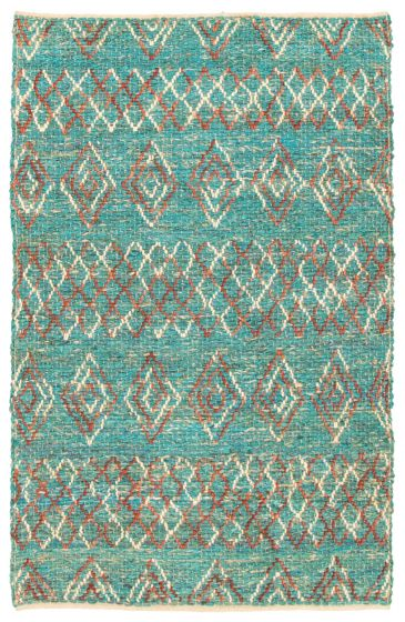 Braided  Transitional Green Area rug 3x5 Indian Braid weave 344572