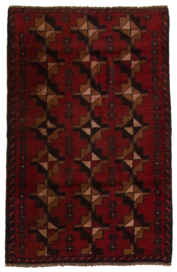 Bordered  Tribal Red Area rug 3x5 Afghan Hand-knotted 357185