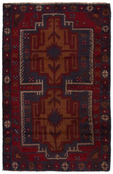 Bordered  Tribal Red Area rug 3x5 Afghan Hand-knotted 360583