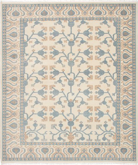Traditional Ivory Area rug 6x9 Indian Hand-knotted 222640