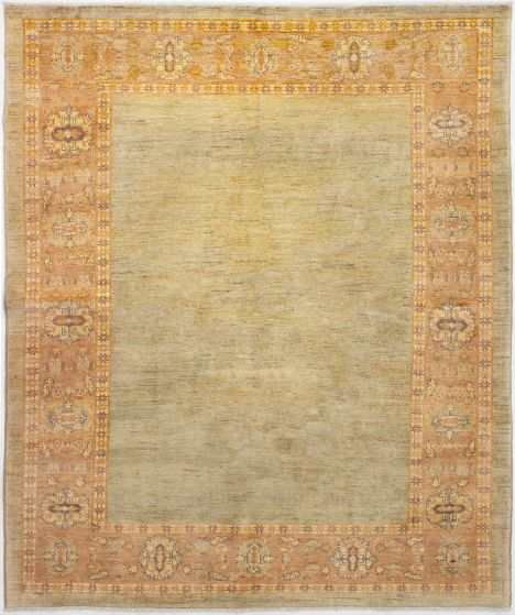 Bordered  Transitional Green Area rug 6x9 Afghan Hand-knotted 272720