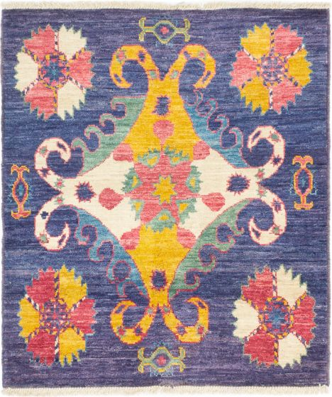 Casual  Transitional Blue Area rug Square Indian Hand-knotted 280586