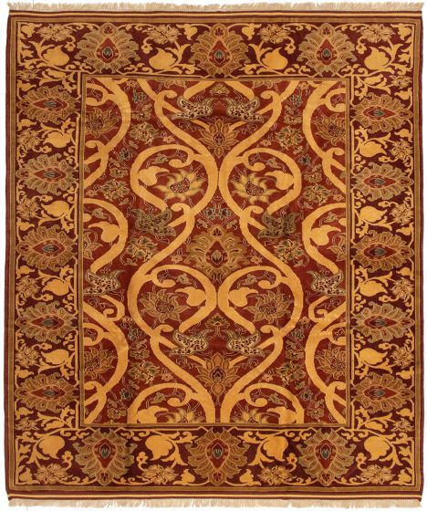 Bordered  Traditional Brown Area rug 6x9 Turkish Hand-knotted 293395