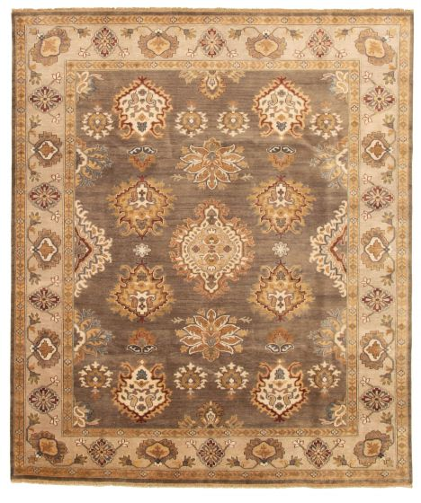 Bordered  Traditional Brown Area rug 6x9 Indian Hand-knotted 328526