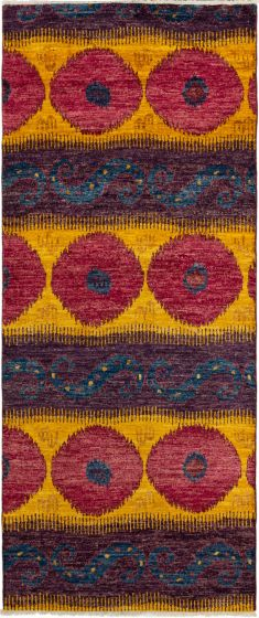Casual  Transitional Purple Runner rug 10-ft-runner Indian Hand-knotted 279994
