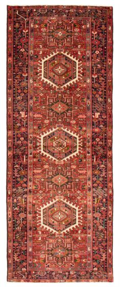 Bordered  Traditional Red Runner rug 10-ft-runner Persian Hand-knotted 358602