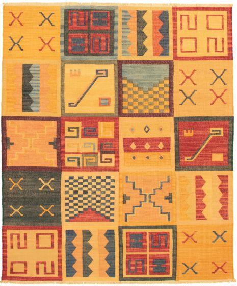 Casual  Transitional Orange Area rug 6x9 Turkish Flat-weave 336005