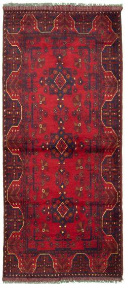 Bordered  Tribal Red Runner rug 6-ft-runner Afghan Hand-knotted 330313
