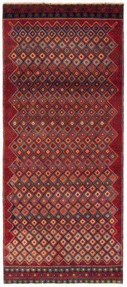 Geometric  Tribal Red Runner rug 7-ft-runner Afghan Hand-knotted 367522
