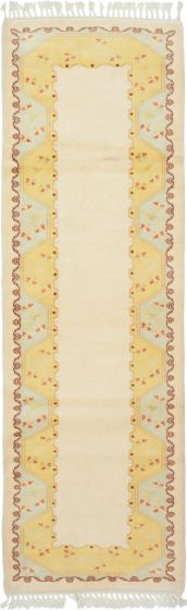 Bordered  Traditional Ivory Runner rug 9-ft-runner Turkish Hand-knotted 293467