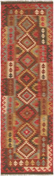 Bordered  Geometric Red Runner rug 10-ft-runner Turkish Flat-weave 297540