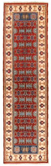 Bordered  Traditional Red Runner rug 10-ft-runner Indian Hand-knotted 314336