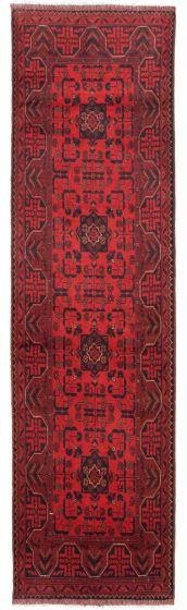 Bordered  Tribal Red Runner rug 10-ft-runner Afghan Hand-knotted 342284