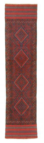 Bordered  Tribal Red Runner rug 9-ft-runner Afghan Hand-knotted 343073