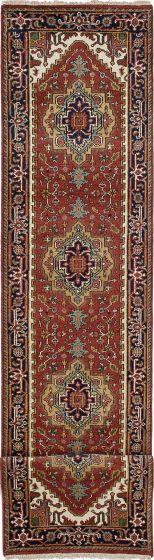 Floral  Traditional Orange Runner rug 16-ft-runner Indian Hand-knotted 218585