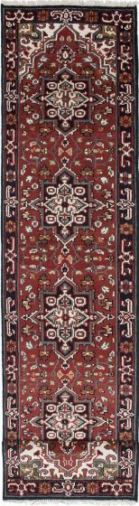 Geometric  Traditional Red Runner rug 12-ft-runner Indian Hand-knotted 219276