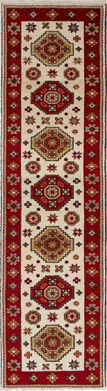 Traditional Ivory Runner rug 10-ft-runner Indian Hand-knotted 233451