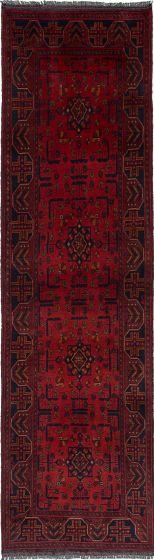 Geometric  Tribal Red Runner rug 10-ft-runner Afghan Hand-knotted 235826