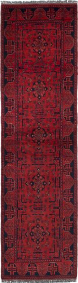 Traditional Red Runner rug 10-ft-runner Afghan Hand-knotted 236357