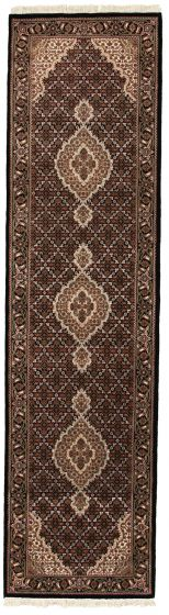 Bordered  Traditional Black Runner rug 10-ft-runner Indian Hand-knotted 309055