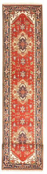 Bordered  Traditional Red Runner rug 14-ft-runner Indian Hand-knotted 344577