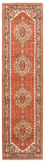Bordered  Traditional Red Runner rug 10-ft-runner Indian Hand-knotted 344640