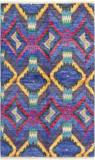 Casual  Transitional Blue Area rug 4x6 Indian Hand-knotted 280708