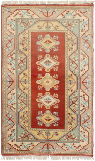 Bordered  Traditional Brown Area rug 5x8 Turkish Hand-knotted 293297